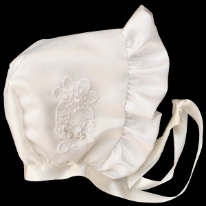 Baby Girls Ivory Satin Bonnet with Embroidered Flower