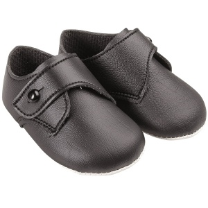 Baby Boys Black Matt Button Pram Shoes 'Baypods'