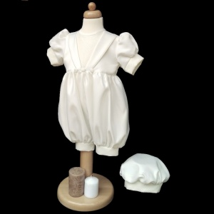 Baby Boys Diamond Ivory Christening Romper & Hat