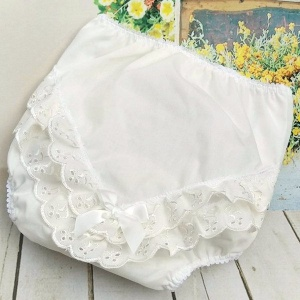Baby Girls Ivory Broderie Anglais Satin Bow Frilly Knickers