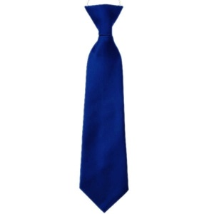 Boys Royal Blue Plain Satin Tie on Elastic