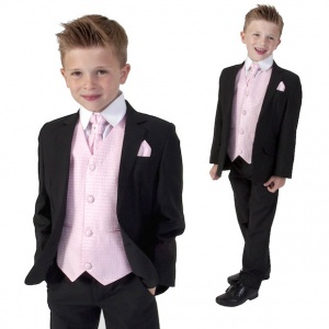 Boys Black & Pink 6 Piece Slim Fit Suit