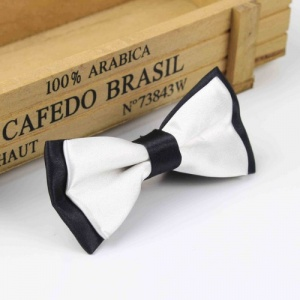 Boys Black & White Satin Bow Tie with Adjustable Strap