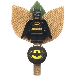 Boys Batman Figure & Badge Hessian & Twine Buttonhole