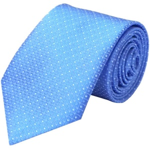 Boys Blue Dot Satin Tie (45'')