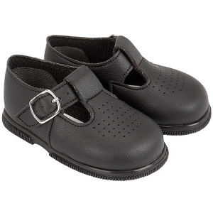 Boys Black Matt T-bar First Walker Shoes