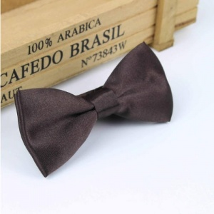 Boys Chocolate Brown Satin Dickie Bow with Adjustable Strap