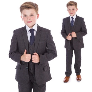 Boys Charcoal Grey Check 5 Piece Slim Fit Suit ''Exclusive''