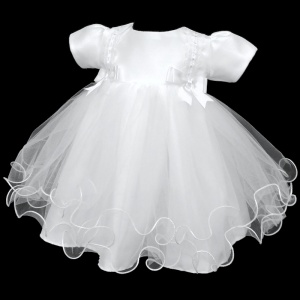 Baby Girls White Double Bow Tulle Dress