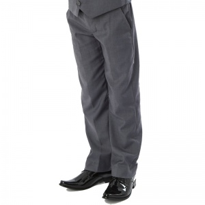 Boys Grey Slim Fit Formal Suit Trousers