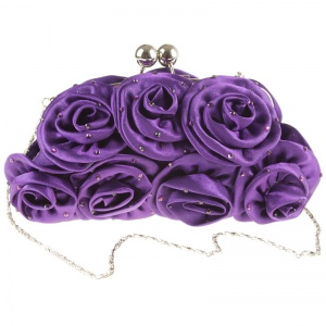 Girls Purple Diamante Satin Rose Clutch Bag