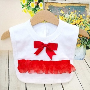 White Cotton Bib with Red Bow & Frilly Organza