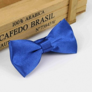 Boys Royal Blue Satin Bow Tie with Adjustable Strap