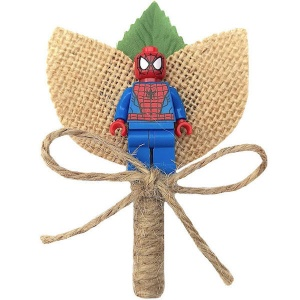 Boys Spiderman Hessian & Twine Rustic Buttonhole