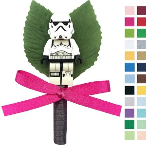 Boys Stars Wars Stormtrooper Buttonhole with Satin Bow & Stem
