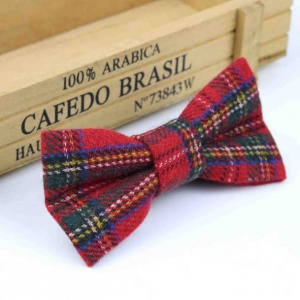 Boys Red Tartan Wool Bow Tie with Adjustable Strap