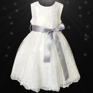 Girls Ivory Floral Lace Dress with Silver Satin Sash