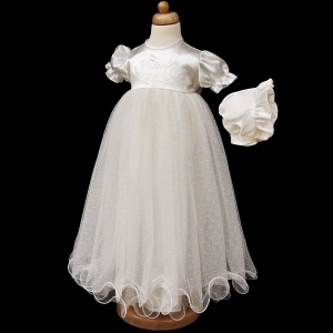 Baby Girls Ivory My Christening Day Satin Tulle Gown & Bonnet