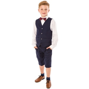 Boys Navy 4 Piece Bow Tie Suit with Shorts