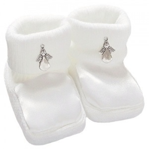 Baby White Satin Silver Angel Christening Booties
