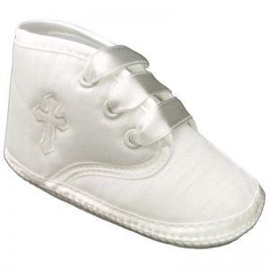 Baby Boys Ivory Dupion Emb Cross Christening Pram Shoes