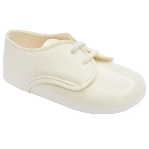 Baby Boys Ivory Patent Lace Pram Shoes 'Baypods'