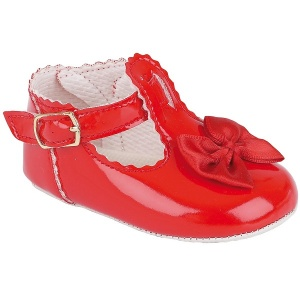 Baby Girls Red Patent Baypods Pram Shoes