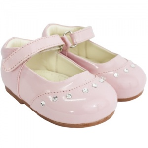 Girls Pink Patent 'Fairy' Diamante Special Occasion Shoes