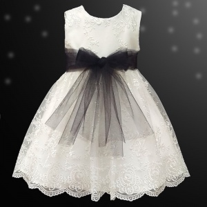 Girls Ivory Floral Lace Dress with Black Organza Sash