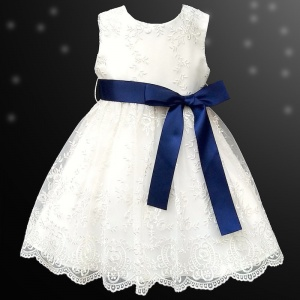 Girls Ivory Floral Lace Dress with Navy Satin Sash