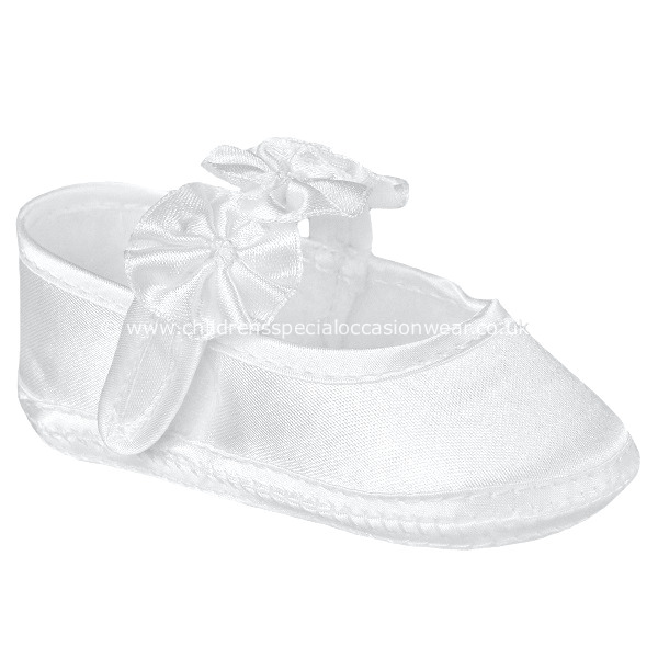 White Satin Christening Shoes