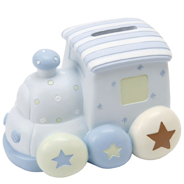 Baby Boy Gift Box : Ceramic train money box gift