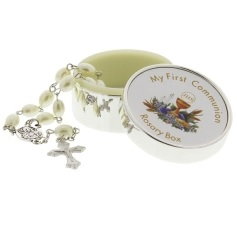 My First Communion Rosary Beads with Cross & Box