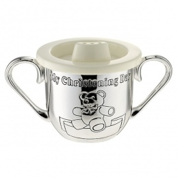 Silver Plated My Christening Day Teddy Cup Baby Baptism Gift
