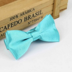 Boys Aqua Satin Bow Tie with Adjustable Strap