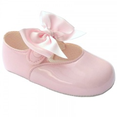 Baby Girls Pink Large Satin Bow Patent Pram Shoes