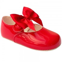 Baby Girls Red Large Satin Bow Patent Pram Shoes