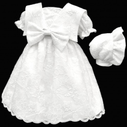 Baby Girls White Embroidered Lace Bow Dress & Bonnet