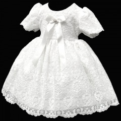 Baby Girls White French Lace Bow Dress