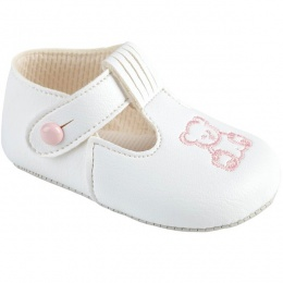 Baby Girls White & Pink Matt T-Bar Teddy Pram Shoes