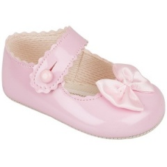 Baby Girls Pink Button Bow Patent Pram Shoes