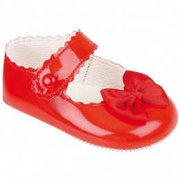 Baby Girls Red Button Bow Patent Pram Shoes