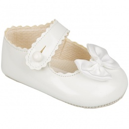 Baby Girls White Button Bow Patent Pram Shoes