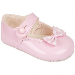 Baby Girls Pink Patent Gingham Bow Baypods Pram Shoes