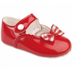 Baby Girls Red Patent Gingham Bow Baypods Pram Shoes