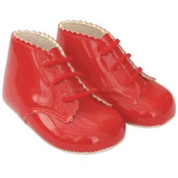 Baby Girls Red Patent Lace Up Baypods Pram Boots