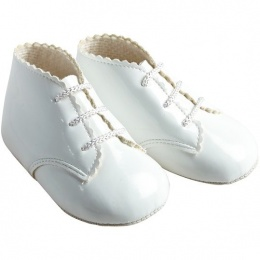 Baby White Patent Lace Up Baypods Pram Boots