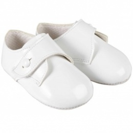 Baby Boys White Patent Button Pram Shoes 'Baypods'