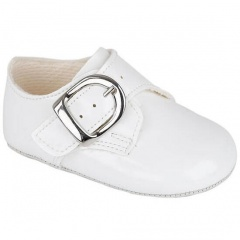 Baby Boys White Patent Buckle Pram Shoes 'Baypods'
