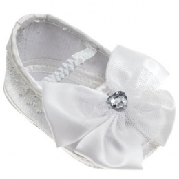 Baby Girls White Sparkly Heart Bow Satin Pram Shoes